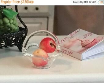 SALE Miniature Glass Basket, Small Fluted Glass Basket #HS44, Dollhouse Miniature, 1:12 Scale, Mini Basket, Dollhouse Accessory, Decor, Craf