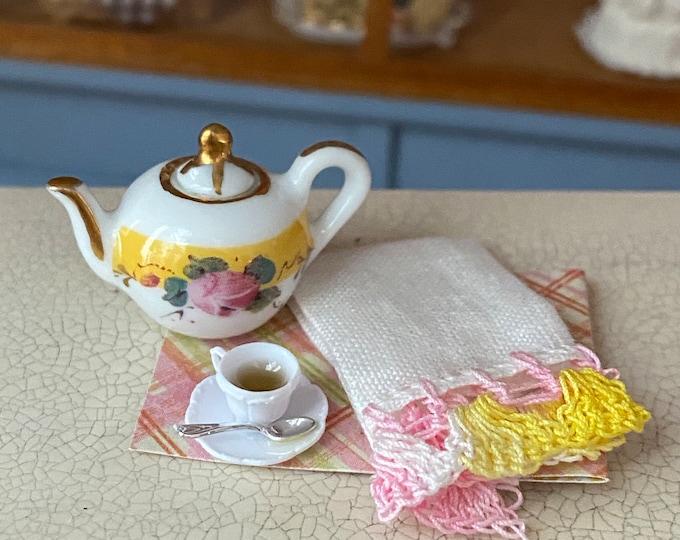 Miniature Tea Lover Set, Reutter Porcelain Teapot, Crochet Trimmed Towel and Teacup with Spoon and Saucer, Dollhouse Miniatures, 1:12 Scale