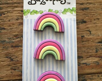 Rainbow Buttons, Carded Novelty Buttons by Buttons Galore, Bazooples Collection, Shank Back Carded Set of 3 Buttons
