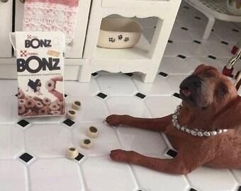 SALE Miniature Dog Treats With Box, Dollhouse Miniature, 1:12 Scale, Dollhouse Decor, Accessories, Mini Pet Supplies, Crafts, Embellishment