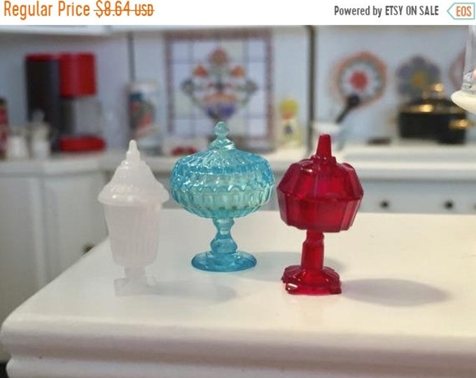 SALE Candy Dish Set, Dollhouse Miniatures, 1:12 Scale, Dollhouse Accessories, Decor, Blue, Red and White Candy Dishes Removable Lids