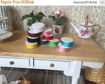 SALE Miniature Spools of Ribbon, Dollhouse Miniatures, 1:12 Scale, Crafts, Packaged Set of 10 Spools, Assorted Colors, Dollhouse Decor Acces