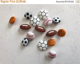"SALE Sport Buttons, Novelty Button Assortment by Buttons Galore ""Let's Play Ball"" Style 4070 Includes Soccer Football Baseball Basketball Bu"