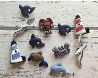 """SALE Ocean Buttons, Packaged Novelty Buttons """"On The Cape"""" #4266, Lighthouses, Dolphins, Crabs, Lobsters, Gulls, Shank Back Buttons"""