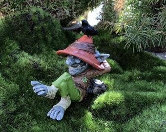"SALE Miniature Troll, Relaxing Laid Back Troll ""Ray"" With Bird Figurine, Miniature Home & Garden Decor, Topper, Shelf Sitter, Gift"