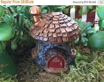 """SALE Micro Mini Fairy Garden House """"Shingletown Mushroom"""" Fairy House by Fiddlehead Fairy Garden Accessory, Home and Garden Decor, Terrarium"""