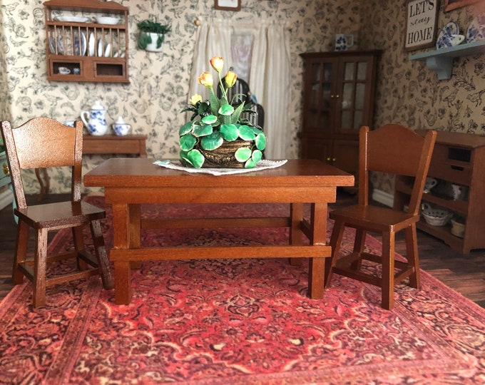 Miniature Table and Chairs, Retired Reutter Wood Table and 2 Chair Set, Clearance Priced, Dollhouse Miniature Furniture, 1:12 Scale