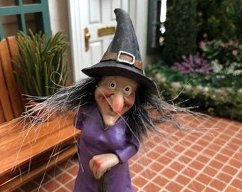 SALE Witch Figurine, Standing Witch In Purple, Fairy Miniature Garden Decor, Halloween Decoration, Shelf Sitter, Gift, Topper