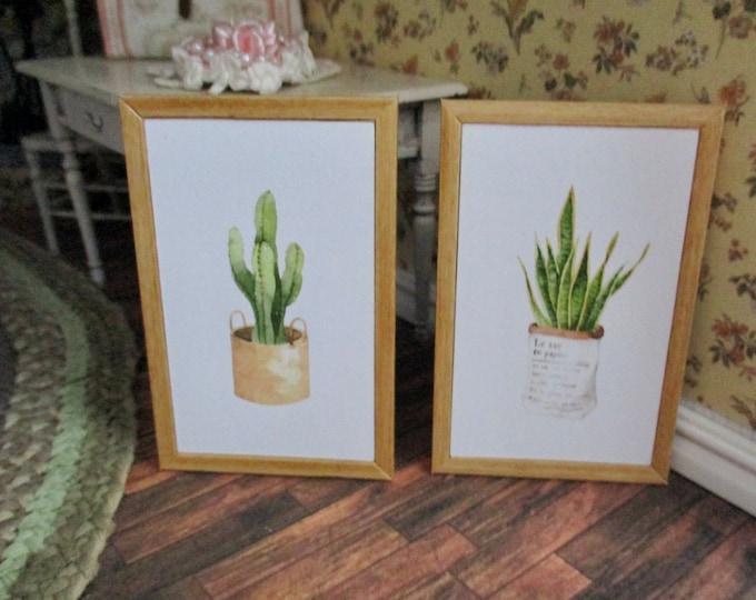 Miniature Framed Pictures, Mini Cactus Plant Pictures, 2 Piece Set, Dollhouse Miniatures, 1:12 Scale, Mini Wall Decor