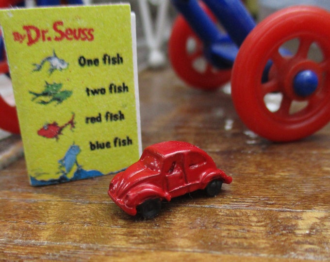 Miniature Toy Car, Mini Red Toy Volkswagon Beetle Style Car, Dollhouse Miniature, 1:12 Scale, Dollhouse Toy, Accessory, Decor