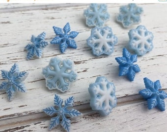 """SALE Blue & White Snowflake Buttons, Packaged Novelty Button Assortment Pack """"I Love Snow"""" by Buttons Galore, Style 4794, Shank Back Buttons"""