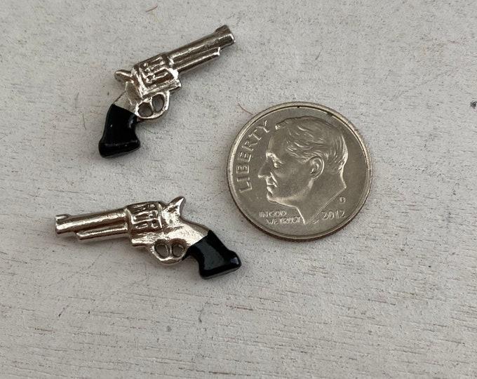 Miniature Pistols, Mini Silver Guns, 2 Piece Set, Dollhouse Miniature, 1:12 Scale, Mini Toy, Dollhouse Accessory, Crafts