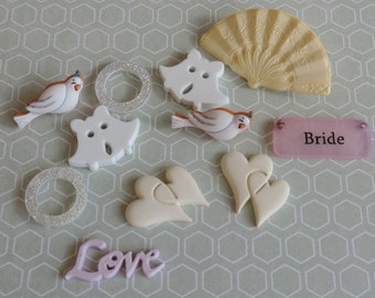 "Wedding Buttons, Packaged Novelty Button Assortment, ""Here Comes the Bride"" by Buttons Galore, Style 4414, Embellishments, Sewing"