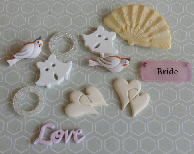"""Wedding Buttons, Packaged Novelty Button Assortment, """"Here Comes the Bride"""" by Buttons Galore, Style 4414, Embellishments, Sewing"""