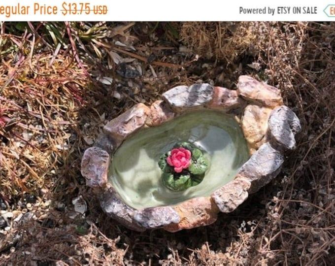 "SALE Fairy Garden Pond, ""Lily Pond"", Little Stone Rock Pond, Fairy Garden Accessory, Miniature Garden, Home and Garden Decor, Gift, Topper"
