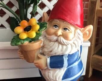 SALE Mini Gnome Figurine, Gnome With Flower Pot, Cheerful Standing Gnome, Miniature Garden Decor, Shelf Sitter, Topper, Gift, Garden Gnome
