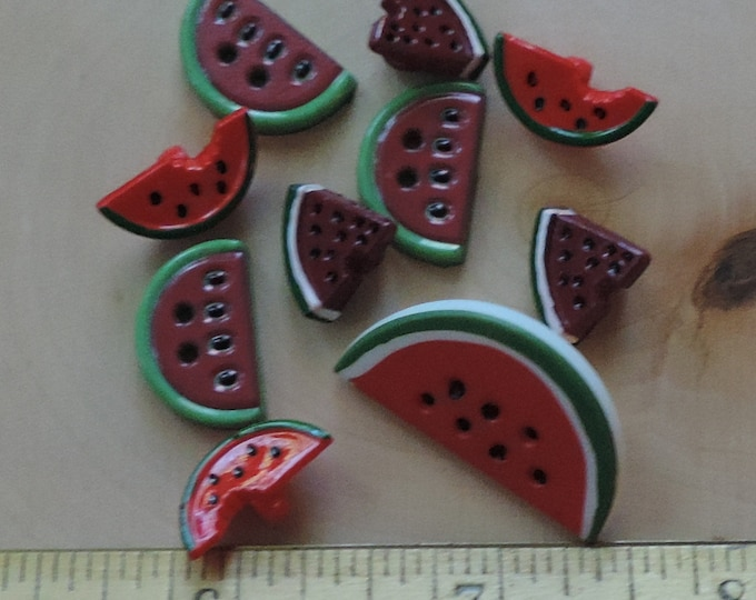 Watermelon Buttons, Packaged Novelty Buttons by Buttons Galore, Fun With Food Collection, Style 4096, Sewing, Craft Buttons, Embellishments