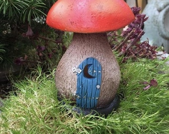 SALE Fiddlehead Mushroom Outhouse, Fairy Garden Decoration, Miniature Garden Accessory, Mini Garden Decor, Topper, Blue Door Mushroom Outsho