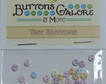 "SALE Micro Pastel Buttons, Packaged Assortment, ""Flirt"" Style #1806 by Buttons Galore, Sewing, Crafting Buttons, Embellishments"