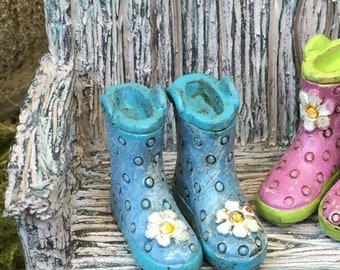 SALE Miniature Rain Boots, Wellies, Blue with Blue Sole and White Daisy, Fairy Garden Accessory, Home and Garden Decor, Mini Polka Boots