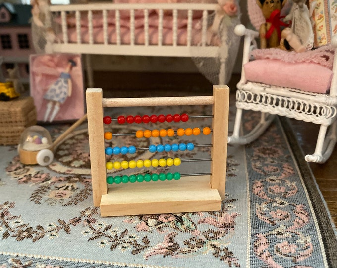 Miniature Toy, Wood Abacus, Dollhouse Miniature, 1:12 Scale, Dollhouse Accessory, Mini Toy, Dollhouse Decor, Crafts