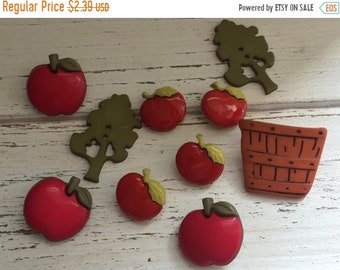 "SALE Apple Buttons, ""Apple Pickin"" Themed Novelty Button Package by Buttons Galore Style 4615, Apples, Tree, Bushel Baskets, Sewing, Craftin"