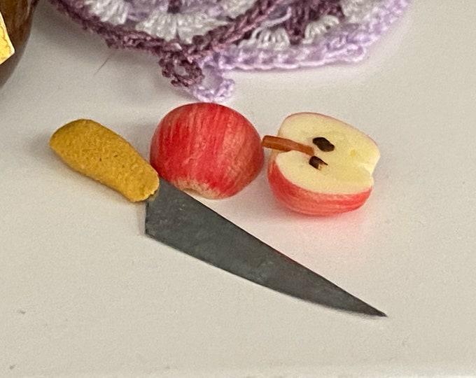 Miniature Apple Halves and Knife Set, Mini Sliced Apple,  Dollhouse Miniatures, 1:12 Scale, Mini Food, Decor, Accessory, Dollhouse Food
