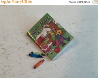 SALE Miniature Coloring Book and Crayons, Dollhouse Miniature, 1:12 Scale, Dollhouse Accessory, Decor, 4 piece set
