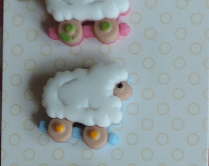 Baby Buttons Sheep on Wheels Baby Hugs Collection by Buttons Galore Carded set of 3