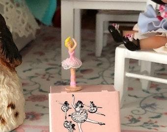 SALE Miniature Ballet Box and Ballerina Figurine, Dollhouse Miniatures, 1:12 Scale, Dollhouse Decor, Miniature Accessories, Mini Ballet
