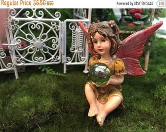 SALE Garden Fairy Figurine, Sitting Fairy Holding Gazing Ball, Pink Wings, Fairy Figurine, Fairy Garden Accessory, Home & Garden Decor, Topp
