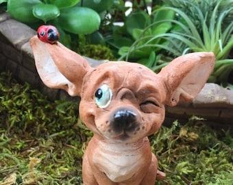 SALE Miniature Chihuahua Pup With Ladybug Figurine, #88,  Fairy Garden, Cake Topper, Accessory, Dog Figurine