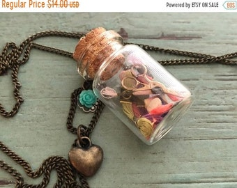 SALE Glass Cork Top Jar Necklace, Jar Filled With Mini Floss, Thread and Stork Scissors, Style #JF1, Sewing Lover Necklace, Gift, Chain & Ch