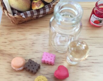 Miniature Cookies in Glass Jar, Dollhouse Miniature,  1:12 Scale, #8416, Removable Lid With Mini Cookies, Dollhouse Food, Play Food