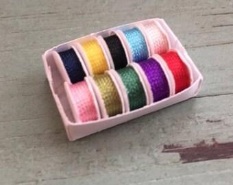SALE Miniature Ribbon Spools, Ribbon in Box, Dollhouse Miniature, 1:12 Scale, Dollhouse Crafts, Dollhouse Decor Accessory