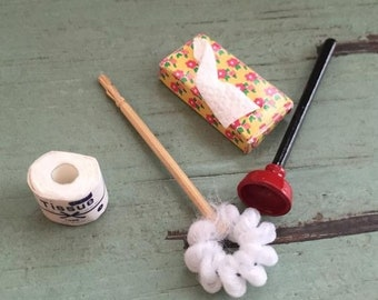 SALE Miniature Bathroom Cleaning, Accessories Set, Dollhouse Miniatures by Timeless Minis, Packaged Set With Toilet Paper, Brush, Plunger, T