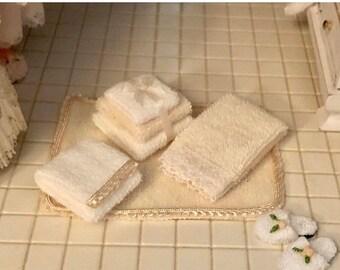 SALE Miniature Bathroom Set, Towels, Bath Mat and Slippers, Dollhouse Miniatures, 1:12 Scale, Dollhouse Accessory, Bathroom Decor, Crafts