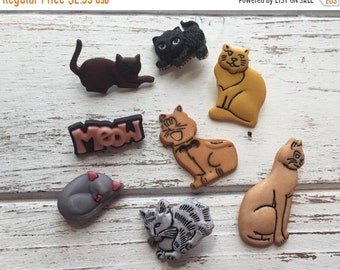 "SALE Cat Buttons, Packaged Novelty Buttons ""Cat Crazy"" #4434 by Buttons Galore, Shank Back Buttons, Assorted Cat Buttons, Embellishments"