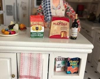 SALE Miniature Italian Grouping, Wine, Napoli and Coffee Set, Miniature Food and Wine Set, Dollhouse Miniatures, 1:12 Scale, Dollhouse Food