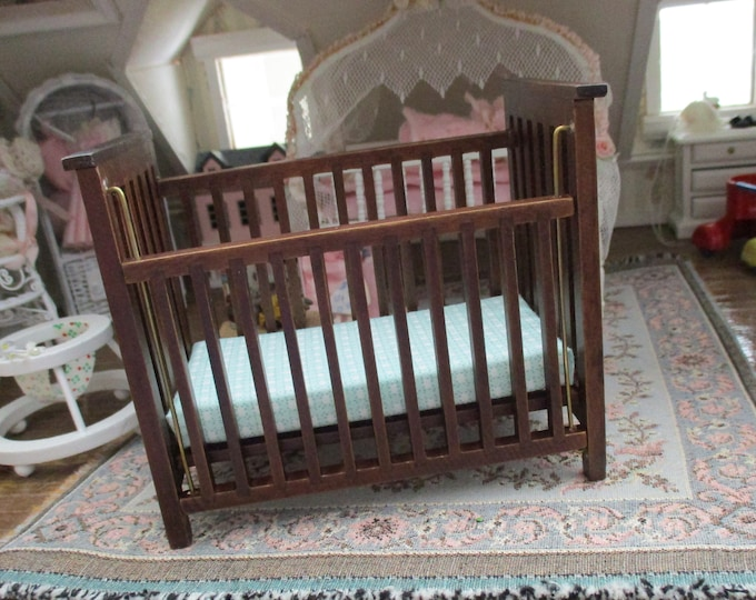 Miniature Crib, Slatted Walnut Finish Crib With Blue Fabric Mattress, Dollhouse Miniature Furniture, 1:12 Scale, Dollhouse Nursery Decor,