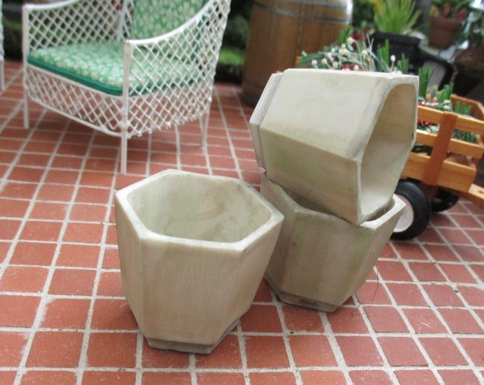Miniature Flower Pot, Mini Octagon Planter, Stone Look Flower Pot, Style #75, Dollhouse Miniature, 1:12 Scale, Miniature Garden Accessory