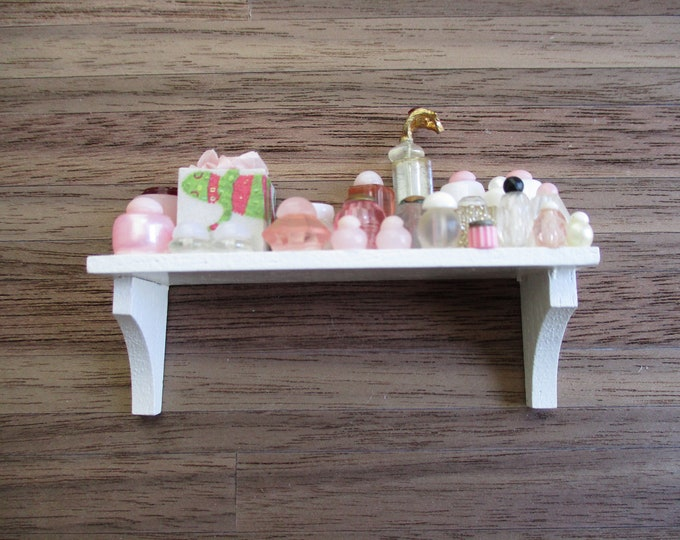 Miniature Cosmetic Shelf, Mini White Wood Filled Shelf, Style #92, Dollhouse Miniature, 1:12 Scale, Dollhouse Decor, Mini Wall Shelf
