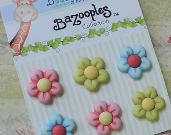 "Flower Buttons, Carded Assortment ""Multi Flowers"" by Buttons Galore, Bright Colored, 3D, Shank Back Buttons, Embellishments"
