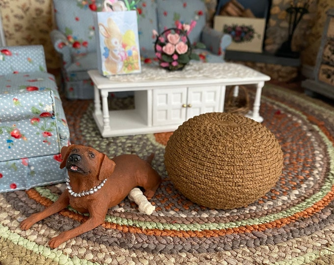 Miniature Wicker Look Braided Ottoman, Style #53, Dollhouse Miniature, 1:12 Scale, Dollhouse Decor, Accessory, Mini Foot Stool