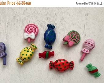 "SALE Candy Treat Buttons, Packaged Novelty Buttons,  ""Sweet Treats"", Style 4277 by Buttons Galore, Lollipop and Wrapped Candy Buttons"