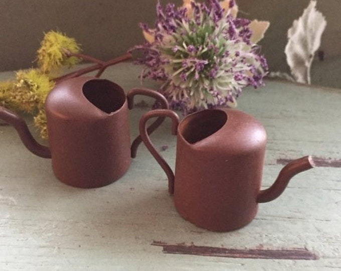 """SALE Miniature Rusty Watering Cans,  1.25"""", Packaged Set of 2 Pieces, Fairy Garden Accessory, Garden Decor, Primitives, Miniature Gardening"""
