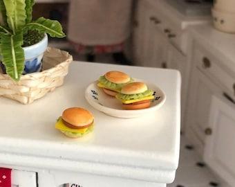 SALE Miniature Hamburgers, Set of 3,  Dollhouse Miniatures, 1:12 Scale, Miniature Food, Pretend Food, Dollhouse Accessories