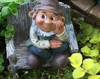SALE Mini Sitting Garden Gnome Figurine, Fairy Gnome Garden Accessory, Miniature Garden, Garden Decor, Topper, Shelf Sitter