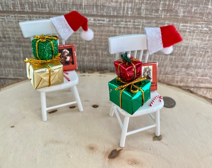 Christmas Chair With Hat, Gifts, Candy Cane and Lump of Coal Box, Choose Gift Color, Dollhouse Miniature, 1:12 Scale,  5 Piece Set