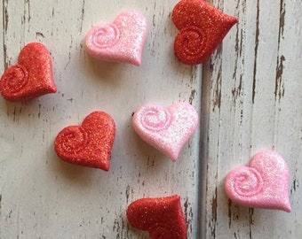 """SALE Heart Buttons, Glittered Pink and Red Hearts, Packaged Shank Back Novelty Buttons by Buttons Galore, """"My Love"""" Style 4318, Sewing, Craf"""
